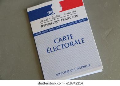 PRIMELIN, FRANCE - APRIL 05: French electoral card, April 05, 2017