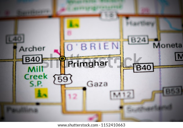 Primghar. Iowa. USA on a map