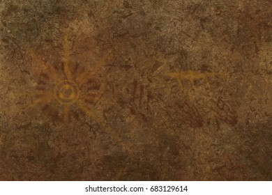 Primitive cave wall art (hominid style)