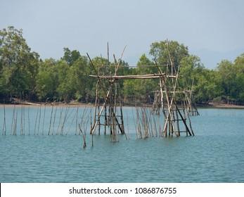 Primitive fish trap along a canal on Kala Island at the Myeik Archipelago, formerly the Mergui Archipelago, in the Tanintharyi Region of Myanmar.