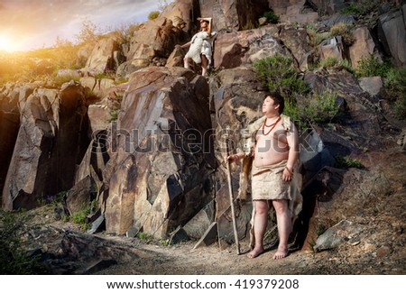 Primitive People Dressed Animal Skin Near Stock Photo Edit Now