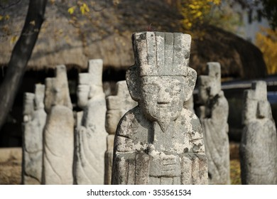 Primitive stone statues for guarding tombs of important people at Gyeongbokgung Palace, Seoul, South Korea