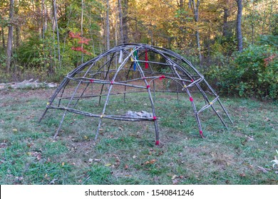 Primitive Sweat Lodge Shelter made with birch saplings. Bushcraft survival shelter for spiritual ceremonys. Similar to sauna / steam room.