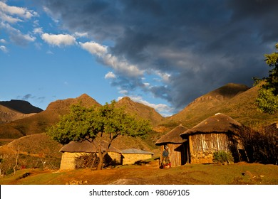 Primitive village in the mountains  in beautiful evening light