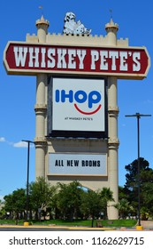 Primm, Nevada, USA on July 23, 2018 : Whiskey Pete's sign.