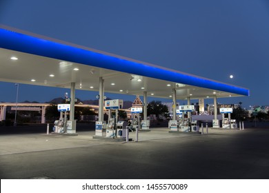 Primm, NV: July 13, 2019:  A Chevron gas station in Primm, Nevada.  Chevron is a multinational energy company.