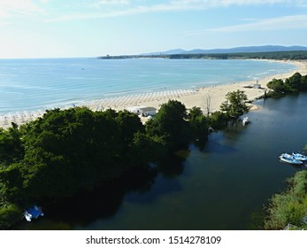 Primorsko south beach and Dyavolska River, Bulgaria - Shutterstock ID 1514278109