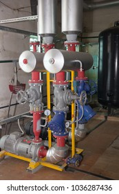 PRIMORSKO-AKHTARSK, RUSSIA- JULY 28, 2015: The equipment of the boiler plant. The production of hot water for industrial processes