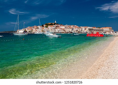 PRIMOSTEN, CROATIA-JUNI 18, 2018:  A fragment of the beautiful coast in Primosten. A place to rest and relax.