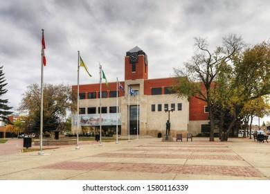 PRINCE ALBERT, SASKATCHEWAN/CANADA- SEPTEMBER 27, 2019: City Hall in Prince Albert, Saskatchewan, Canada. Prince Albert is the third-largest city in Saskatchewan, Canada