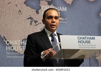 Prince Ali Bin Al Hussein of Jordan, speaking at Chatham House in London on September 10, 2015, during his campaign to become president of football's governing body FIFA.