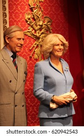 Prince Charles and Camilla, London, United Kingdom - March 20, 2017: Prince charles and camilla (Prince of wales and duchess of Cornwall)  wax figure at museum London