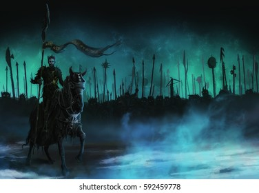 The prince of darkness goes on a warhorse before the battle
