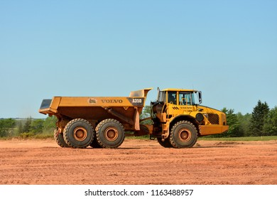 Prince Edward Island, Canada -Aug 13th 2018: The Volvo A35D Articulated dump truck at the construction site.