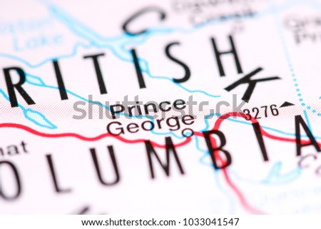 Prince George Canada Map.Prince George Canada On Map Stock Photo Edit Now 1033041547