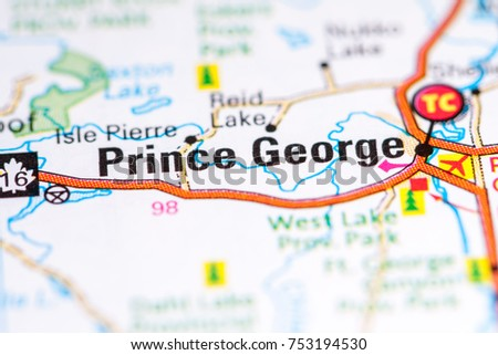 Prince George Canada Map.Prince George Canada On Map Stock Photo Edit Now 753194530