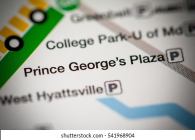 Prince George's Plaza Station. Washington DC Metro map.