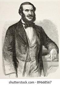 Prince Gregoire Ghika old engraved portrait. After photo of Franck, published on L'Illustration, Journal Universel, Paris, 1858