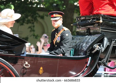 Prince Harry, London, UK - June 17, 2017: Prince Harry, Kate Middleton and Camilla Parker Bowles in an open carriage trooping the colour 2015 to mark the Queens official birthday, London, England UK.
