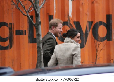 Prince Harry & Meghan Markle London UK. 9th Jan 2018. Prince Harry & Meghan Markle Reprezent radio POP Brixton for work done to combat knife crime in London. stock photo image press photograph image