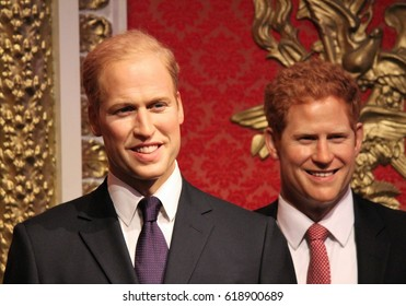Prince Harry and Prince William, London, United Kingdom - March 20, 2017: Prince Harry and Prince william wax figure at  museum London. Heirs to British throne