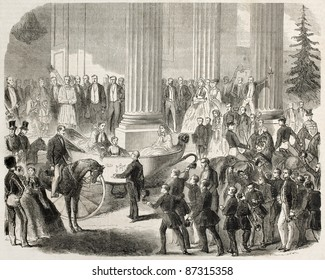 Prince Imperial and Empress Eugenie visiting Versailles Lyceum. Created by Janet-Lange, published on L'Illustration, Journal Universel, Paris, 1860