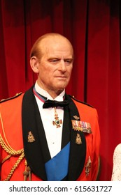 Prince Philip, Duke of Edinburgh, London, United Kingdom - March 20, 2017: Prince Philip portrait  wax figure at Madame Tussauds museum, London