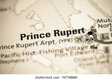 Prince Rupert. Canada on a map.