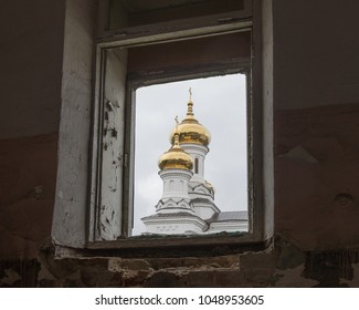 Prince Vladimir's Church (built in 1888) in window, Irkutsk, Russia