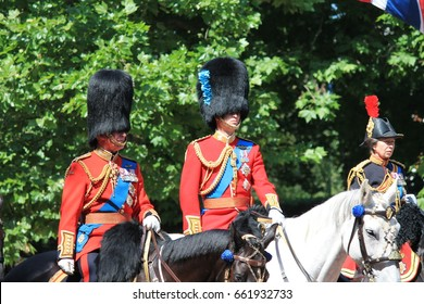 Prince William, Charles, Princess Anne Trooping the colour, London, UK, - June 17 2017; Prince William, Prince Charles in Trooping the colour parade on horse in uniform