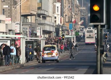 Princes street, Edinburghs city centre. (january sales.)