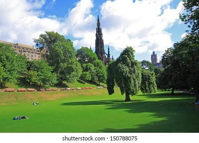 Princes Street Gardens on summer day in Edinburgh, Scotland