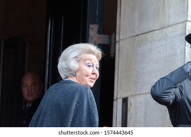 Princess Beatrix Arriving For The Erasmus Price Amsterdam The Netherlands 2019 In Black And White