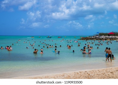 PRINCESS CAYS, BAHAMAS - JULY 8 - A fun filled family beach scene on July 8 2018 in the small island Princess Cays in the Bahamas.