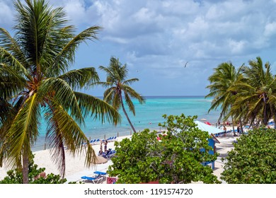 PRINCESS CAYS, BAHAMAS - JULY 8 - A scenic tropical island scene  on July 8 2018 in the small island Princess Cays in the Bahamas..