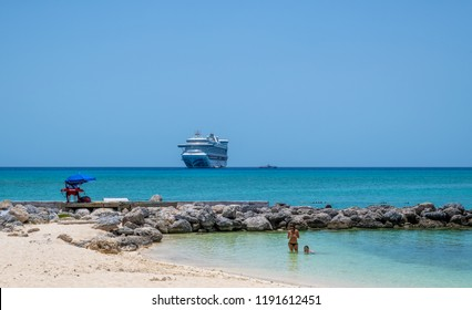 PRINCESS CAYS, BAHAMAS - JULY 8 - A quiet beach lagoon on July 8 2018 on the small island Princess Cays in the Bahamas.