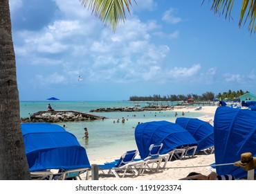 PRINCESS CAYS, BAHAMAS - JULY 8 - A relaxing beach scene on July 8 2018 on the small island Princess Cays in the Bahamas.