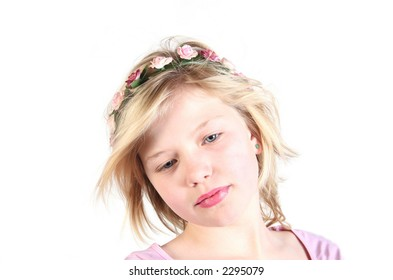 princess girl with flowers in her hair