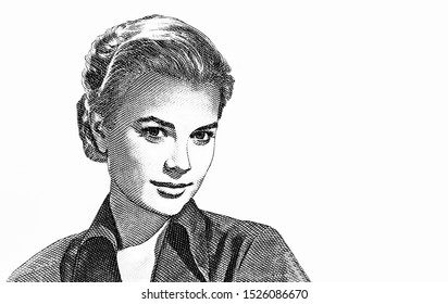 Princess Grace Kelly Portrait from monaco Banknotes. An Old paper banknote, vintage retro. Famous ancient Banknotes. Collection.