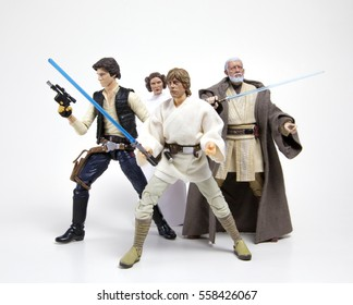 Princess Leia Organa, Han Solo, Luke Skywalker & Obi Wan 'Ben' Kanobi form Star Wars Episode IV: A New Hope - Hasbro Black Series 6 inch figures