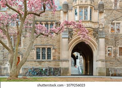 Princeton, New Jersey - April 20, 2018: Holder Hall on the campus of Princeton University.  Princeton University is a Private Ivy League University in New Jersey, USA.