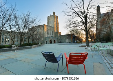 Princeton, New Jersey - April 20, 2018: Firestone Library on campus of Princeton University at sunrise.  Princeton University is a Private Ivy League University in New Jersey, USA