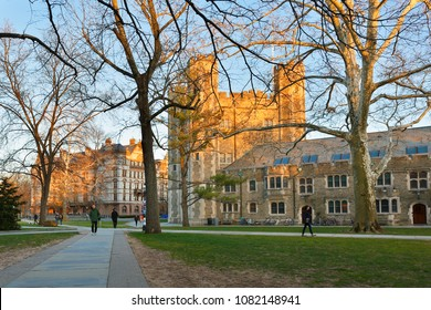 Princeton, New Jersey - April 20, 2018: Blair Hall on campus of Princeton University on a late afternoon.  Princeton University is a Private Ivy League University in New Jersey, USA.