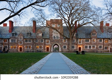 Princeton, New Jersey - April 20, 2018: Holder Hall on the campus of Princeton University after sunset. Princeton University is a Private Ivy League University in New Jersey, USA.
