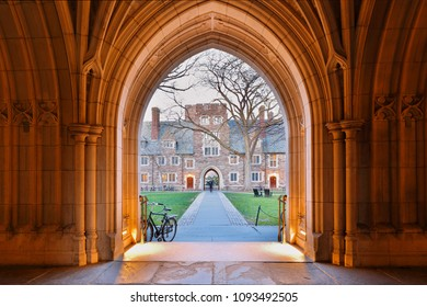 Princeton, New Jersey - April 20, 2018: The Arched Hallway of Holder Hall on the campus of Princeton University.  Princeton University is a Private Ivy League University in New Jersey, USA.
