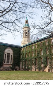 PRINCETON, NEW JERSEY - January 5, 2017: A view of the historic Nassau Hall at Princeton University on a winters day
