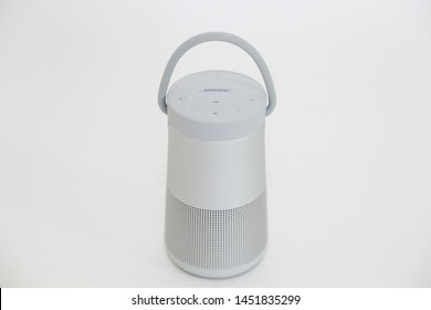 Princeton, New Jersey July 15 2019: Bose Sound Link Revolve Plus.Bose Corporation is a privately held American corporation, based in Framingham, Massachusetts, that sells audio equipment. - Image.