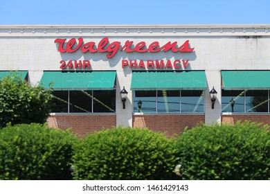 Princeton New Jersey - June 23, 2019: Walgreens store exterior and sign. Walgreens is the largest drug retailing chain in the United States. - Image