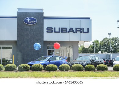 Princeton New Jersey - June 23, 2019: Exterior view of Subaru dealership in Princeton, the automobile manufacturing division of Japanese transportation conglomerate Subaru Corporation. - Image