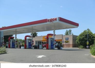 Princeton New Jersey - June 23, 2019:  Exxon gas station in Princeton, NJ, USA